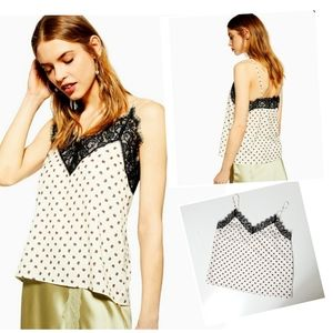 Topshop spot lace cami size 8 NWT